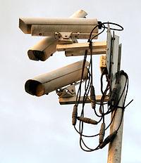 A 'nest' of surveillance cameras at the Gillette Stadium in Foxborough, Massachusetts