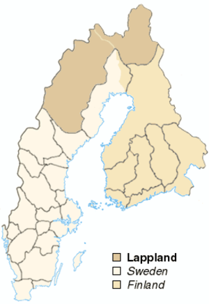 Laponia (historical province) - Laponia (Lappland) in the realm of Sweden. Though drawn exactly on the map, northern borders against Russia and Norway were approximate.