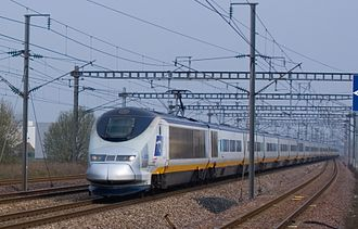 British Rail Class 373 - Ex Eurostar Class 373 working for SNCF  passing Haute-Picardie station