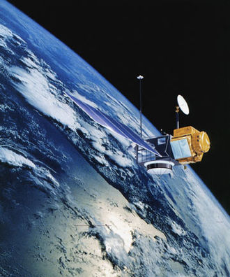 TOPEX/Poseidon - Artist's rendering of the TOPEX/Poseidon satellite.