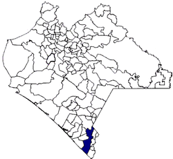 The location o Tapachula municipality in Chiapas