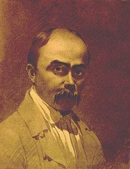 Taras Sjevtsjenko.[1] Dit zelfportret stamt uit de periode 1851-1853. Sepia op papier.
