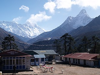 Tengboche - Everest (left), Lhotse (centre) and  Ama Dablam (right) from Tengboche