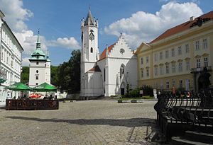Teplice - Castle square and church