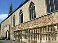 Tewkesbury Abbey, remains of cloister, looking west.jpg