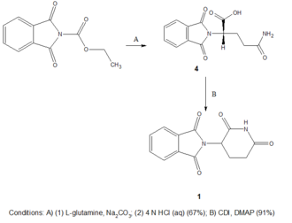 Development of analogs of thalidomide - Scheme 2: Newer thalidomide synthesis, two step reaction