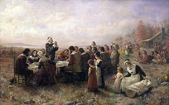 English Americans - The First Thanksgiving at Plymouth, Massachusetts by English Pilgrims in 1621.