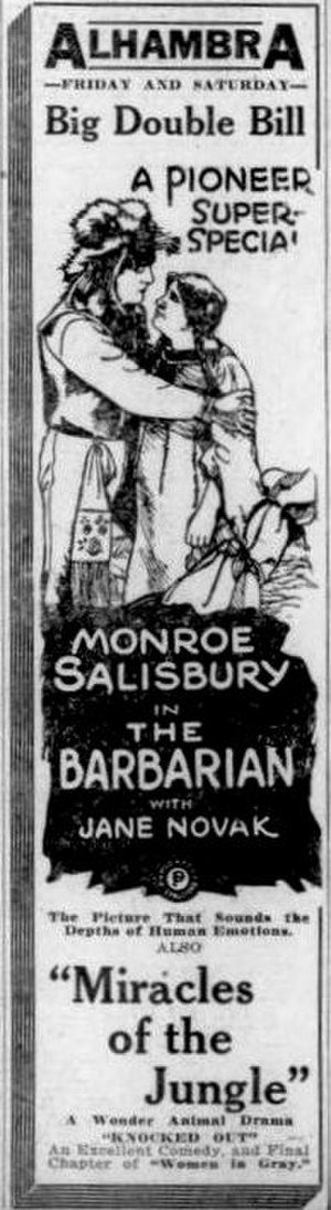 The Barbarian (1920 film) - Newspaper advertisement