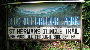 St. Herman's Blue Hole National Park - Welcome Sign to the Blue Hole National Park