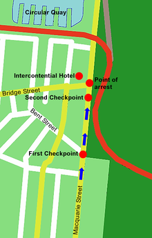 A map of Sydney showing the route taken by the motorcade. They travelled up Macquarie Street, through the first checkpoint at the Bent Street intersection, and a second checkpoint just before being stopped at the Bridge Street intersection and being detained outside the InterContinental Hotel.