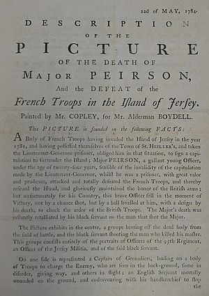 The Death of Major Peirson, 6 January 1781 - Image: The Death of Major Peirson 1784 Copley description 1
