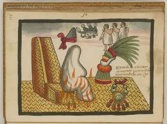 The Aztec emperor Ahuitzotl being cremated. Surrounding him are a necklace of jade and gold, an ornament of quetzal feathers, a copilli (crown), his name glyph and three slaves to be sacrificed to accompany him in the afterlife. The Funeral Rites of Auitzotl WDL6755.png