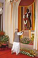 The Lok Sabha Speaker, Shri Somnath Chatterjee paying floral tributes at the statue of Swami Vivekananda at Parliament House, in New Delhi on August 23, 2006.jpg