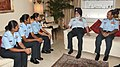 The Marshal of the Indian Air Force (MIAF) Arjan Singh along with the Chief of the Air Staff, Air Chief Marshal Arup Raha interacting with three newly commissioned women fighter pilots, in New Delhi on August 12, 2016.jpg
