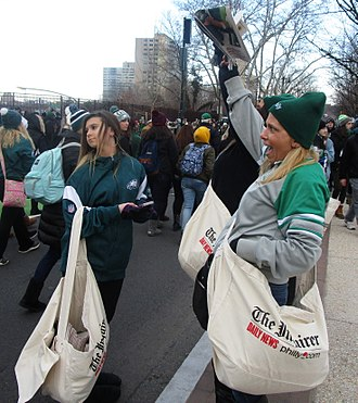 The Philadelphia Inquirer - Copies of The Inquirer being sold at the Philadelphia Eagles' Super Bowl LII victory parade in 2018