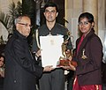 The President, Shri Pranab Mukherjee presenting the Arjuna Award for the year-2012 to Ms. Deepika Kumari for Archery, in a glittering ceremony, at Rashtrapati Bhavan, in New Delhi on August 29, 2012.jpg