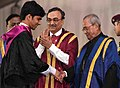 The President, Shri Pranab Mukherjee presenting the medal to a student, at the 52nd Annual Convocation of Indian Institute of Management, Calcutta, in Kolkata, West Bengal on April 01, 2017.jpg
