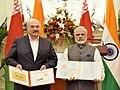 The Prime Minister, Shri Narendra Modi and the President of the Republic of Belarus, Mr. Alexander Lukashenko releasing the postage stamp, at Hyderabad House, in New Delhi on September 12, 2017.jpg