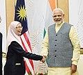 The Prime Minister, Shri Narendra Modi meeting the Deputy Prime Minister of Malaysia, Dr. Wan Azizah Wan Ismail, in Kuala Lumpur, Malaysia on May 31, 2018.JPG