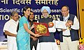 The Prime Minister of India and President, CSIR, Dr. Manmohan Singh presenting the CSIR Young Scientist Award 2012 in Engineering Science (Including Instrumentation) to Dr. Priyanka Heda Meheshwari.jpg
