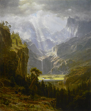 A Storm in the Rocky Mountains, Mt. Rosalie - The Rocky Mountains, Lander's Peak, 1863. This smaller version was painted from sketches made during Bierstadt's 1859 expedition.