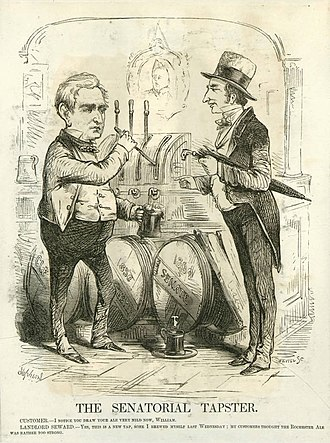 "William H. Seward - In this March 1860 cartoon, Seward brews ""mild beer"" in his February 29, 1860 address to position himself as a moderate after the ""irrepressible conflict"" speech."