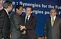 The Union Minister of Commerce and Industry, Shri Kamal Nath with the President of France, Mr. Nicolas Sarkozy at the India-France Economic Conference Synergies for the Future, in New Delhi on January 25, 2008.jpg