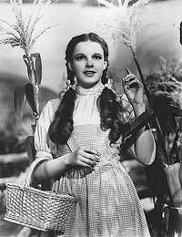 A black and white still of Judy Garland from The Wizard of Oz