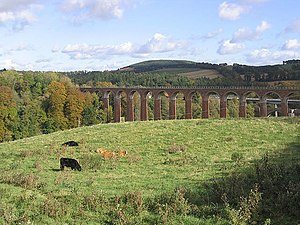 Leaderfoot Viaduct - The viaduct with the amphitheatre at Trimontium
