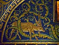 The deer (left). Detail of the mosaic in Mausoleum of Galla Placidia. Ravenna, Italy.jpg