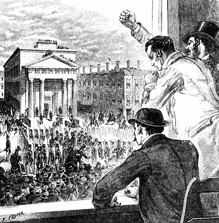 An 1895 depiction of the 1854 protests surrounding the arrest and trial of Anthony Burns The rendition of Anthony Burns in Boston.jpg