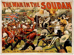 """""""The War in the Soudan."""" A U.S. poster depicting British and Mahdist armies in battle, produced to advertise a Barnum & Bailey circus show titled """"The Mahdi, or, For the Victoria Cross"""", 1897."""