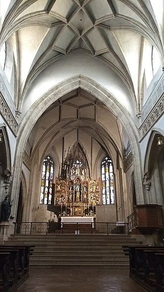 Nonnberg Abbey - Image: The wooden Gothic altar by the sculptor Veit Stoss
