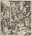 Theuerdarnk Nearly Shoots Himself with a Crossbow, from -Theuerdank- Die geuerlicheiten vnd einsteils der geschichten des loblichen streytparen vnd hochberümbten helds vnd Ritters herr Tewrdannckhs MET DP834078.jpg