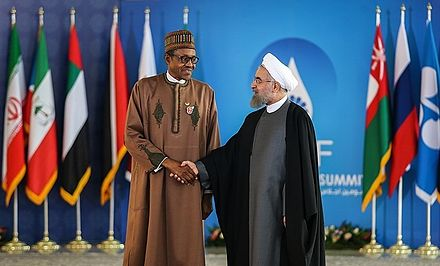 Buhari with Iranian President Hassan Rouhani during the Third GECF summit Third GECF summit in Tehran 44.jpg