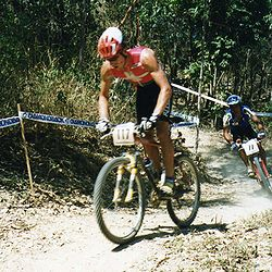Thomas Frischknecht competing in the Elite Men's Cross Country at the 1996 UCI Mountain Bike World Championships in Cairns, Australia