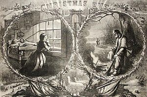 Christmas in the American Civil War - A husband and wife separated by the war (Nast, 1862)