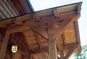 Natural building - Porch of a modern timber framed home