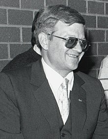 Tom Clancy at Boston College's Burns Library in November 1989