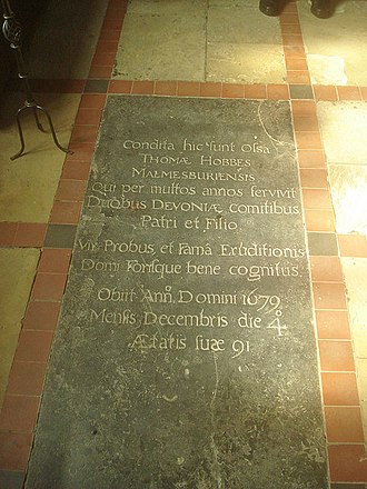 Thomas Hobbes - Tomb of Thomas Hobbes in St John the Baptist's Church, Ault Hucknall in Derbyshire