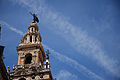 Top of The Giralda Seville ( bell tower for the Cathedral of Seville), close up. Seville, Andalusia, Spain, Southwestern Europe.jpg