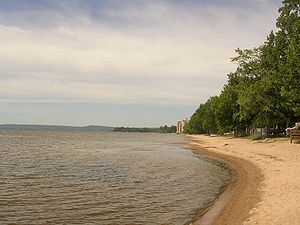 North Bay, Ontario - A beach on Lake Nipissing in West Ferris, a neighbourhood of North Bay