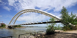 Humber Bay Arch Bridge - The Humber Bay Arch Bridge seen from the west bank of the Humber River