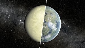 Kepler-69c - Artist's conception of a comparison between a Venus-like and Earth-like planet. Based on recent research, Kepler-69c is more likely a super-Venus, analogous to Venus but more massive, and completely uninhabitable.