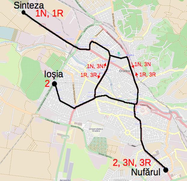 File:Tram map of Oradea.xcf