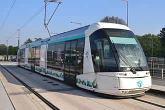 Tramways in Île-de-France - Lines T5 and T6 use Translohr technology, featuring rubber tyred vehicles guided by a single central rail.