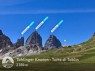Tre Cime di Lavaredo - The photo of Tre Cime was made at the foot of Torre di Toblin mountain