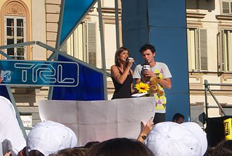 Total Request Live (Italy) - 2009's TRL presenters: Carlo Pastore and Elisabetta Canalis.