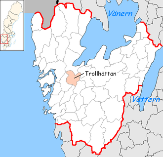 Trollhättan Municipality - Image: Trollhättan Municipality in Västra Götaland County