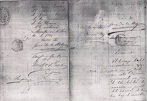 Tubao - Photocopy of a portion of the original Spanish document creating the new municipality of Tubao in 1885.